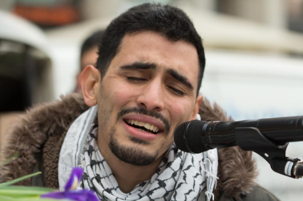 Auftritt Aeham Ahmad, Syrer gegen Sexismus, Köln 2016